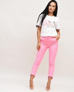 Pantaloni roz cu capsa