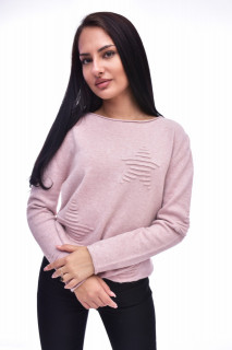 Pulover dama roz cu imprimeu decorativ