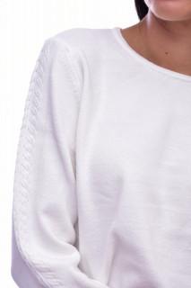 Pulover din tricot fin cu detalii pe maneci - alb