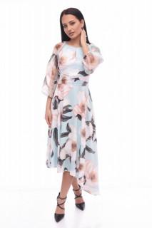 Rochie asimetrica eleganta -FLORA-turcoaz-