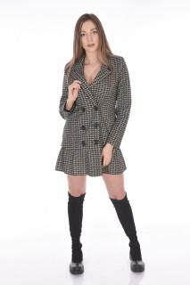 Rochie blazer in carouri-kaki-E