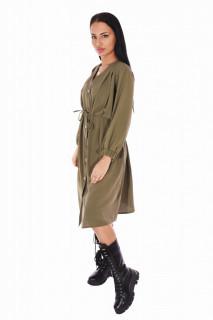 Rochie dama casual cu cordon-kaki-E