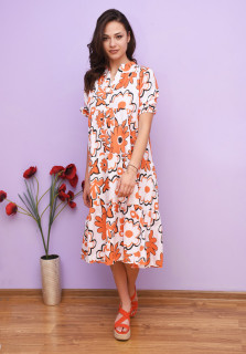 Rochie dama midi alba cu imprimeu floral portocaliu - Alice