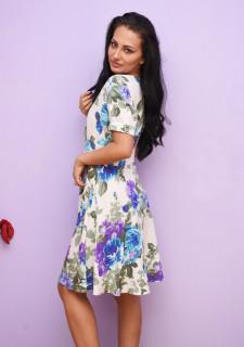 Rochie dama mini de vara cu imprimeu floral- Grace- albastru