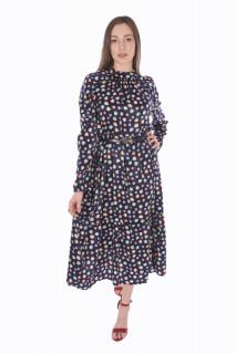 Rochie lunga satinata cu imprimeu si curea ( bleumarin )-E-