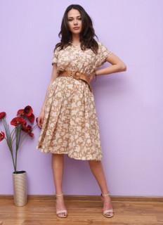 Rochie midi casual cu imprimeu floral si curea - Lara - bej