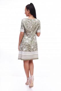 Rochie midi cu imprimeu floral si dungi
