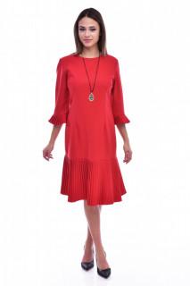 Rochie midi cu maneci plisate-rosu-
