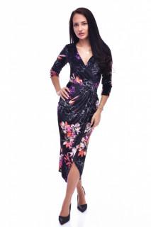 Rochie midi din catifea cu imprimeu floral - negru