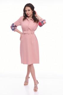 Rochie midi eleganta cu curea - Jullie- roz-
