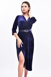 Rochie midi eleganta din catifea - albastru