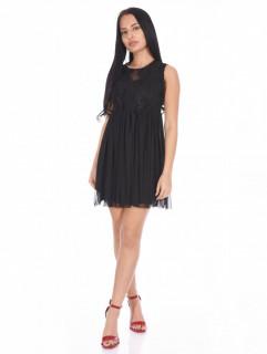 Rochie mini din broderie si tull fara maneca-negru-