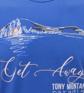 Tricou Casual Barbati Slim Fit Tony Montana- Get Away Paradise -albastru