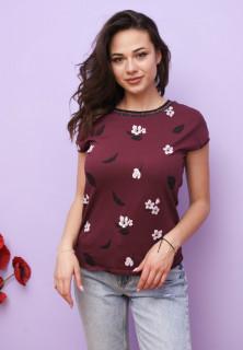 Tricou dama casual cu imprimeu floral - grena-E-