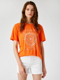 Tricou dama casual cu imprimeu - portocaliu