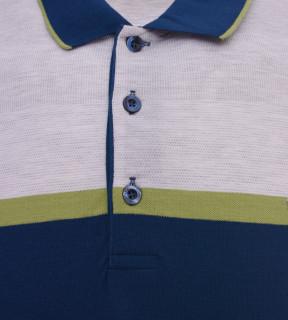 Tricou Polo Barbati Regular fit Tony Montana cu dungi - gri/albastru