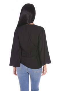 Bluza eleganta cu maneci evazate si cordon -negru-E-