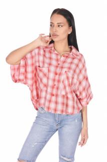 Camasa dama casual in carouri oversize - roz corai -E