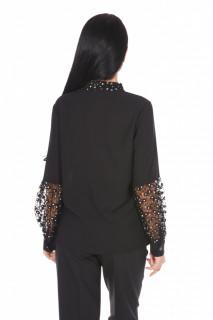 Camasa eleganta cu broderie si paiete- negru-