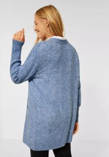 Cardigan din tricot gros cu buzunare - albastru