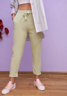 Pantaloni casual din bumbac cu tiv maruntit