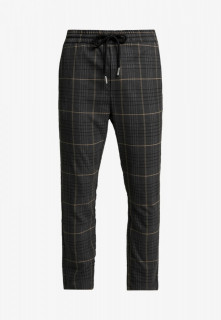 Pantalonil barbati casual gri cu snur in talie si carouri