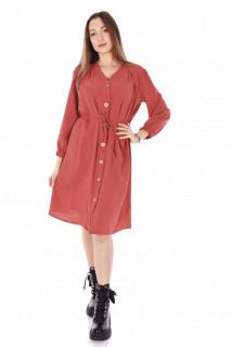 Rochie dama casual cu cordon-roz corai-