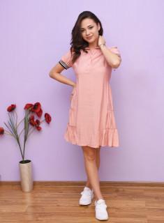 Rochie dama mini de vara cu guler clasic si volane- Elli - roz corai