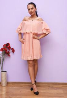Rochie eleganta plisata cu volane - roz