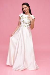 Rochie lunga de ocazie satinata cu broderie florala