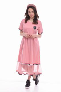 Rochie midi casual cu buzunare si tul din organza Clara - roz