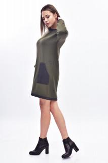Rochie midi din tricot cu buzunare - kaki