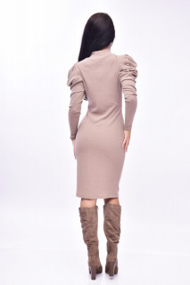 Rochie midi din tricot cu maneci bufante - bej