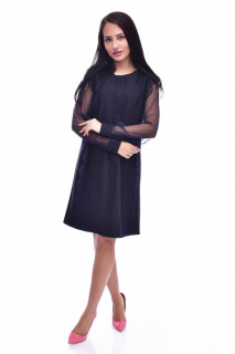 Rochie midi eleganta cu dantela decorativa bleumarin