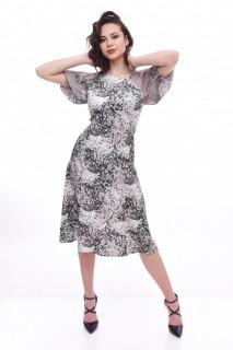Rochie midi eleganta cu imprimeu si maneca scurta - kaki
