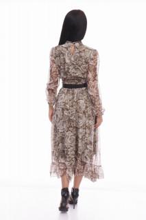 Rochie midi eleganta din voal cu imprimeu floral Marylin - bej-