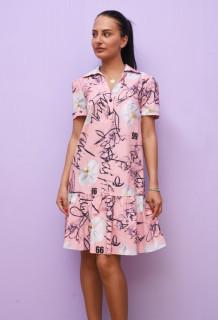 Rochie mini casual cu volane si imprimeu - Tanya- roz