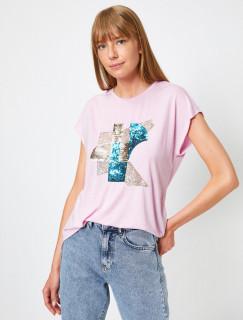 Tricou dama casual cu paiete - roz-E-