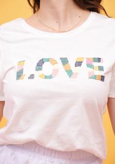 """Tricou dama casual Karol cu broderie """"Love """"- alb"""