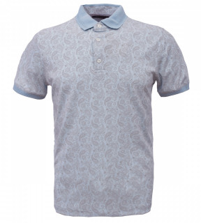 Tricou Polo Barbati Regular Fit Wellalux -imprimeu paisley-bleu