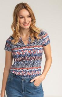 Bluza cu imprimeu floral corai