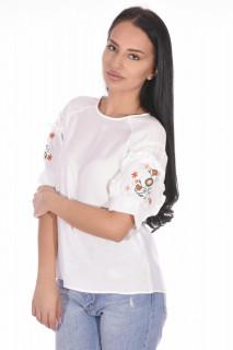 Bluza dama cu maneca scurta si broderie florala-alb-E