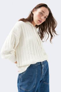 Bluza oversize din tricot cu gluga -E