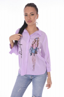 "Camasa casual "" Beautiful ""-lila-"