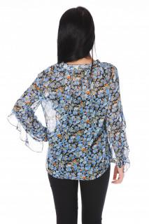 Camasa dama din voal si imprimeu floral -albastru-