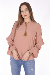 Camasa eleganta cu broderie florala pe umeri-roz corai-E-