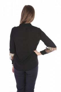 Camasa eleganta cu broderie si tull pe maneci- negru-E-