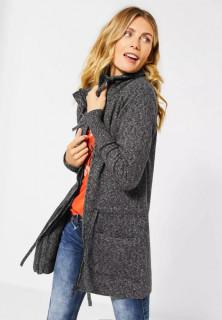 Cardigan lung din tricot flexibil -E