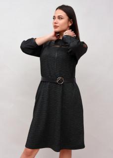 Rochie cu aplicatii din piele ecologica si curea