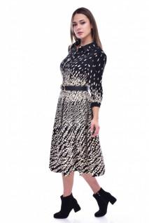 Rochie cu imprimeu si maneca lunga- negru